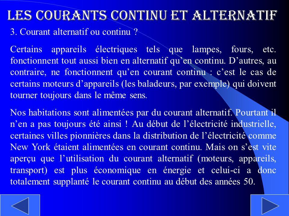 Les courants continu et alternatif 3. Courant alternatif ou continu ? Certains appareils électriques tels que lampes, fours, etc. fonctionnent tout au