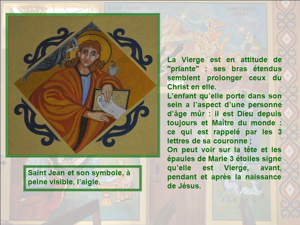 B) A la droite du Seigneur : la Vierge Marie en attitude dOrante. Celle qui a été choisie par cette