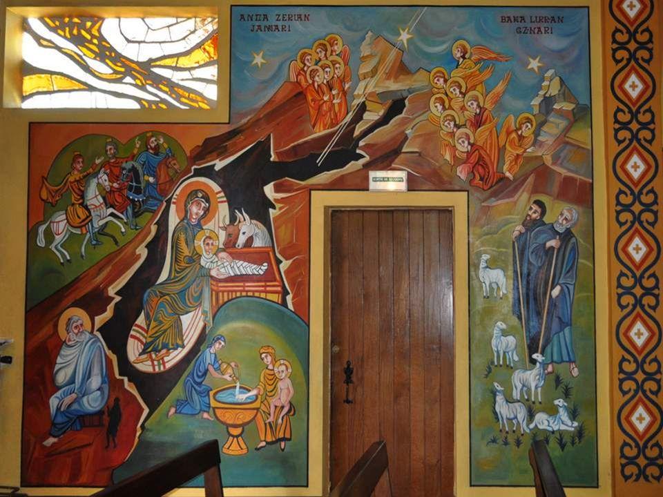 C ) – A gauche du Christ Pantocrator, à la place occupée habituellement par St Jean- Baptiste, en tant que représentant de lAncien Testament, nous avo