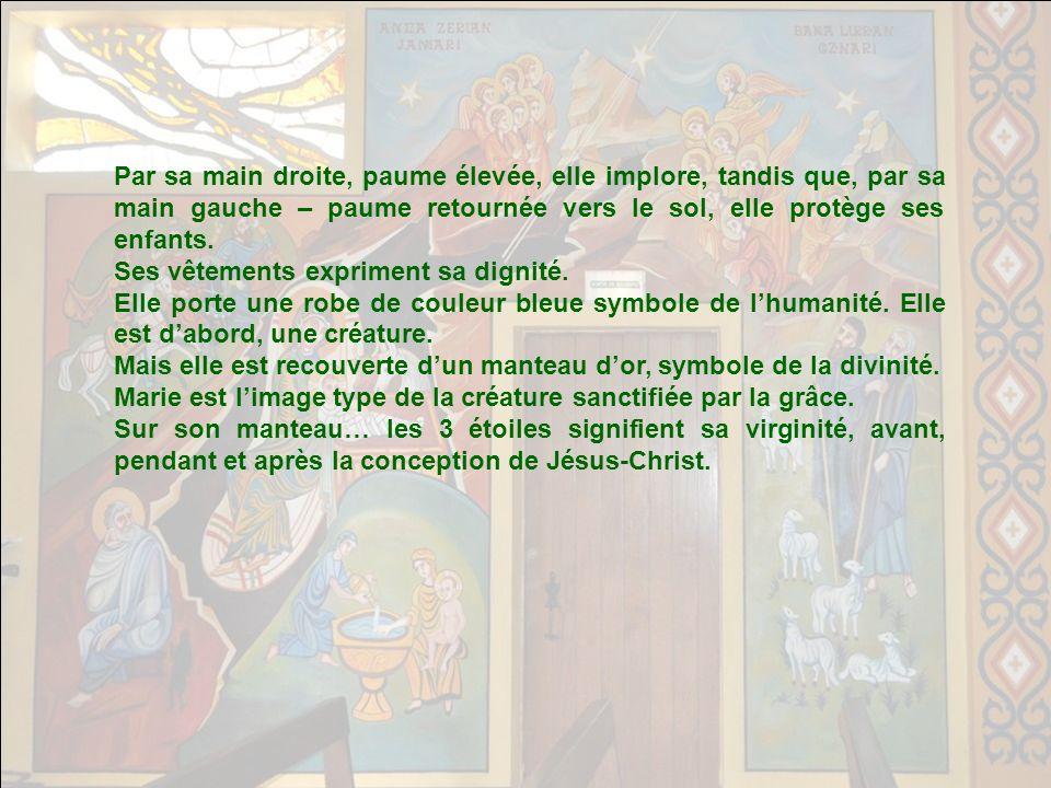 TRIOMPHE DE MARIE Ce tableau est un fragment dune icône du XVII° siècle, destinée à illustrer lhymne à Marie, intitulée