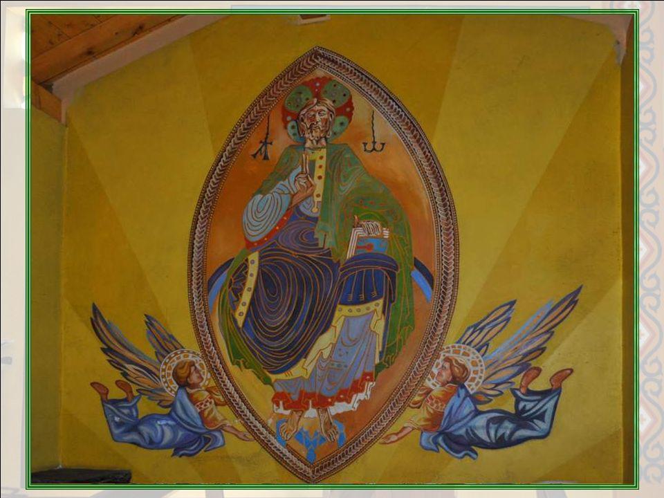 Christ en Majesté Dans le chœur, nous voyons le Christ dans sa gloire. Cest la reproduction – modifiée – dune icône en émail, de la fin du XII° siècle