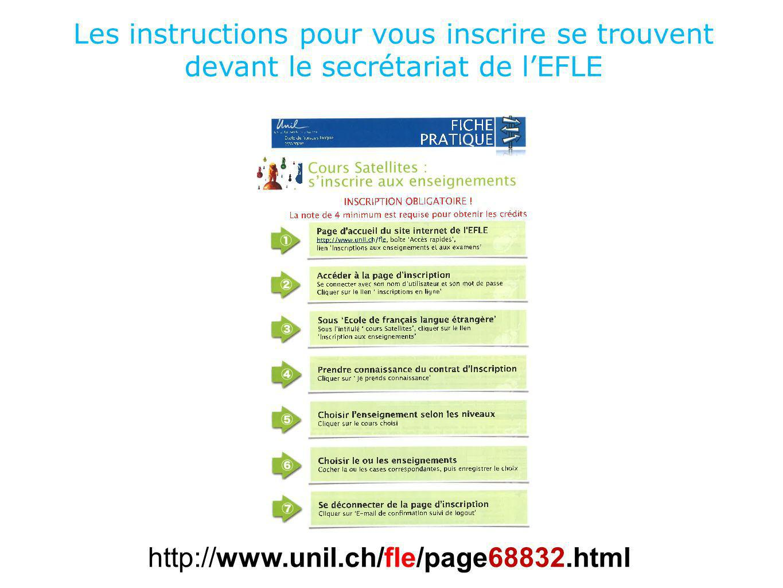 Les instructions pour vous inscrire se trouvent devant le secrétariat de lEFLE http://www.unil.ch/fle/page68832.html
