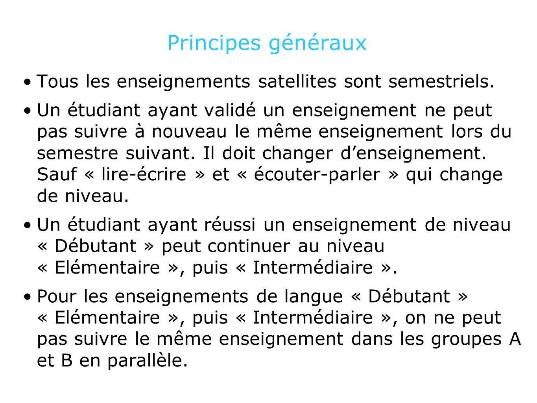 Principes généraux Tous les enseignements satellites sont semestriels. Un étudiant ayant validé un enseignement ne peut pas suivre à nouveau le même e