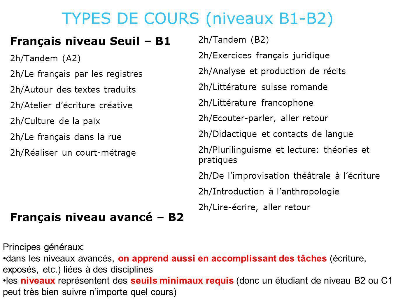 TYPES DE COURS (niveaux B1-B2) Français niveau Seuil – B1 2h/Tandem (A2) 2h/Le français par les registres 2h/Autour des textes traduits 2h/Atelier déc