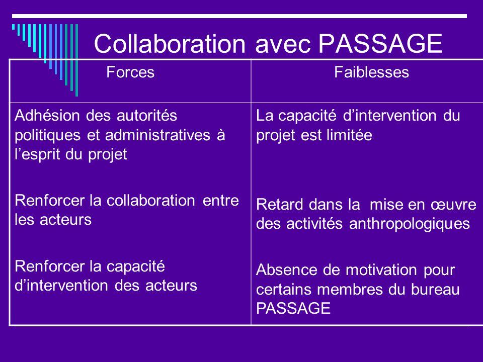 Collaboration avec PASSAGE ForcesFaiblesses Adhésion des autorités politiques et administratives à lesprit du projet Renforcer la collaboration entre