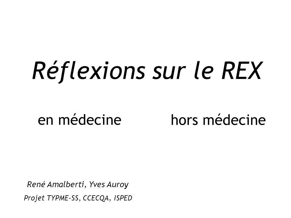 Réflexions sur le REX en médecine hors médecine René Amalberti, Yves Auroy Projet TYPME-SS, CCECQA, ISPED