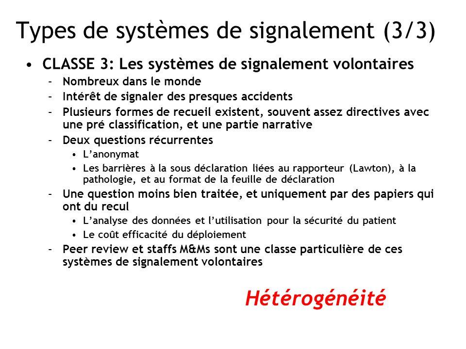 Types de systèmes de signalement (3/3) CLASSE 3: Les systèmes de signalement volontaires –Nombreux dans le monde –Intérêt de signaler des presques acc