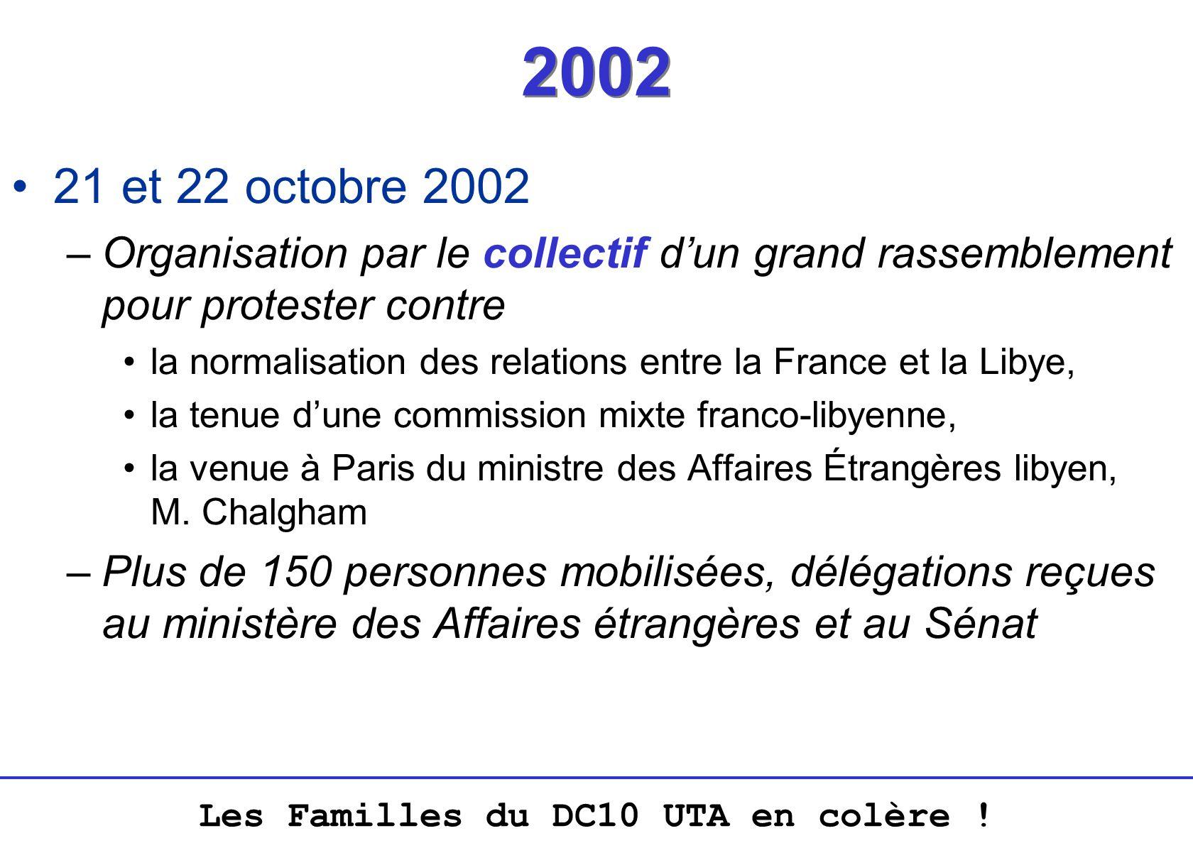 Les Familles du DC10 UTA en colère ! 2002 21 et 22 octobre 2002 –Organisation par le collectif dun grand rassemblement pour protester contre la normal