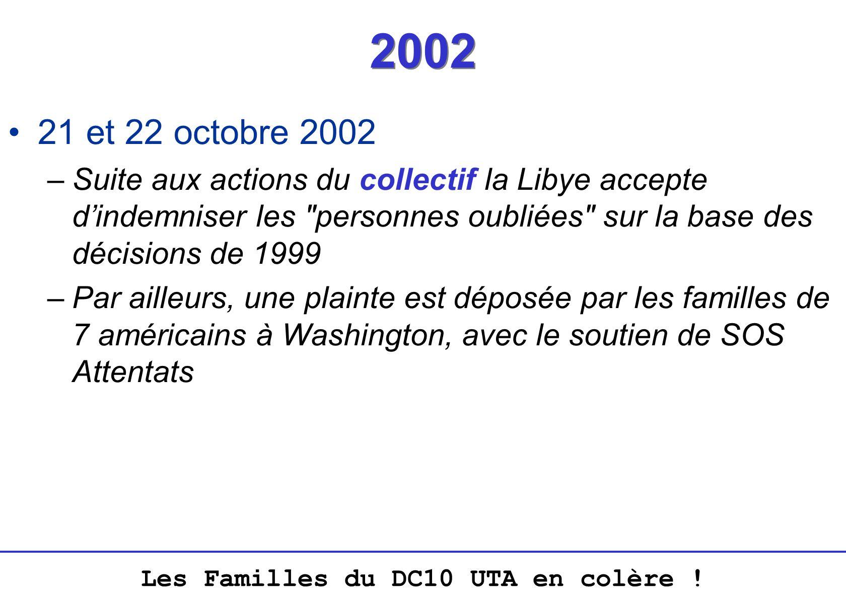 Les Familles du DC10 UTA en colère ! 2002 21 et 22 octobre 2002 –Suite aux actions du collectif la Libye accepte dindemniser les