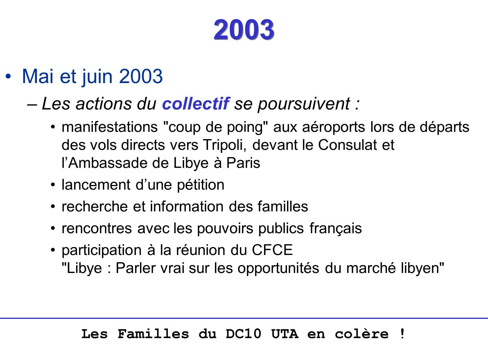 Les Familles du DC10 UTA en colère ! 2003 Mai et juin 2003 –Les actions du collectif se poursuivent : manifestations