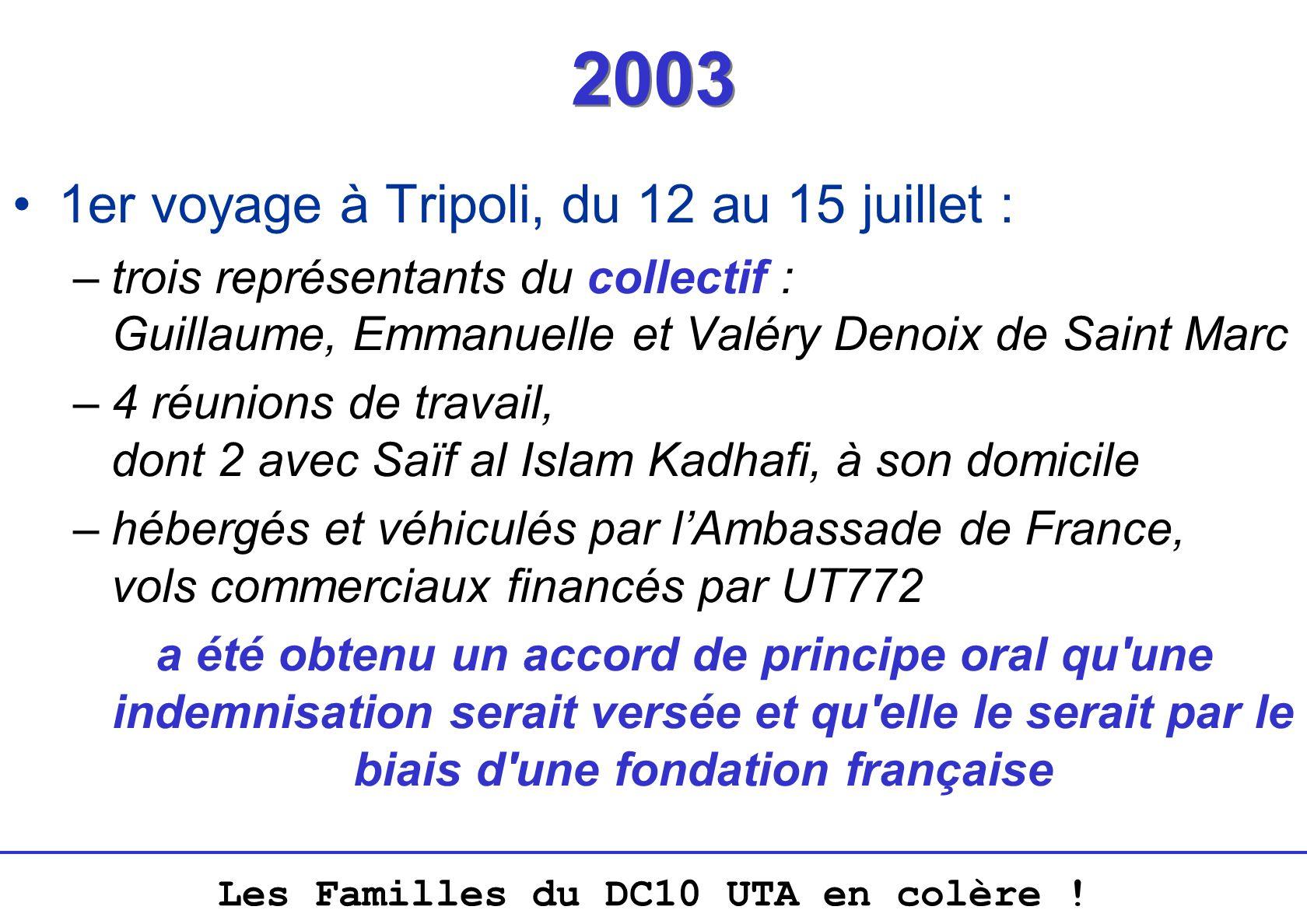Les Familles du DC10 UTA en colère ! 2003 1er voyage à Tripoli, du 12 au 15 juillet : –trois représentants du collectif : Guillaume, Emmanuelle et Val