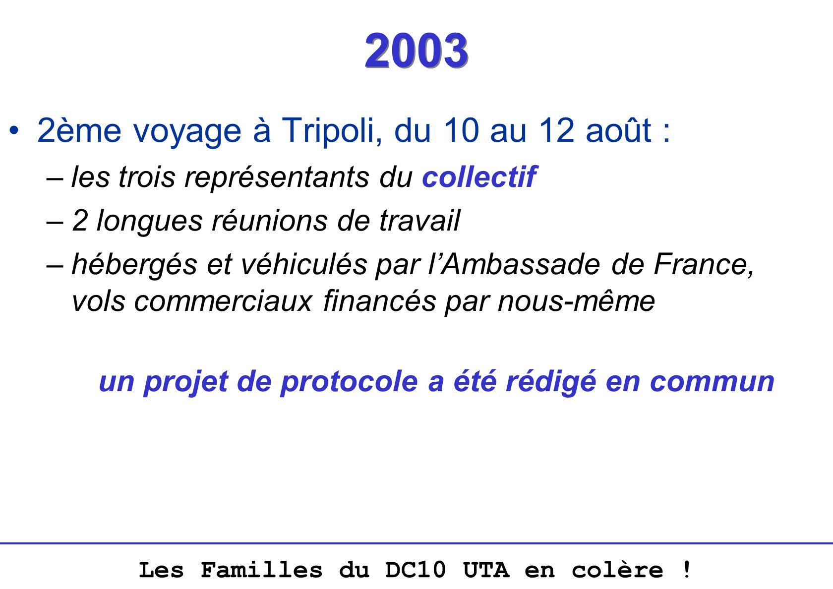 Les Familles du DC10 UTA en colère ! 2003 2ème voyage à Tripoli, du 10 au 12 août : –les trois représentants du collectif –2 longues réunions de trava
