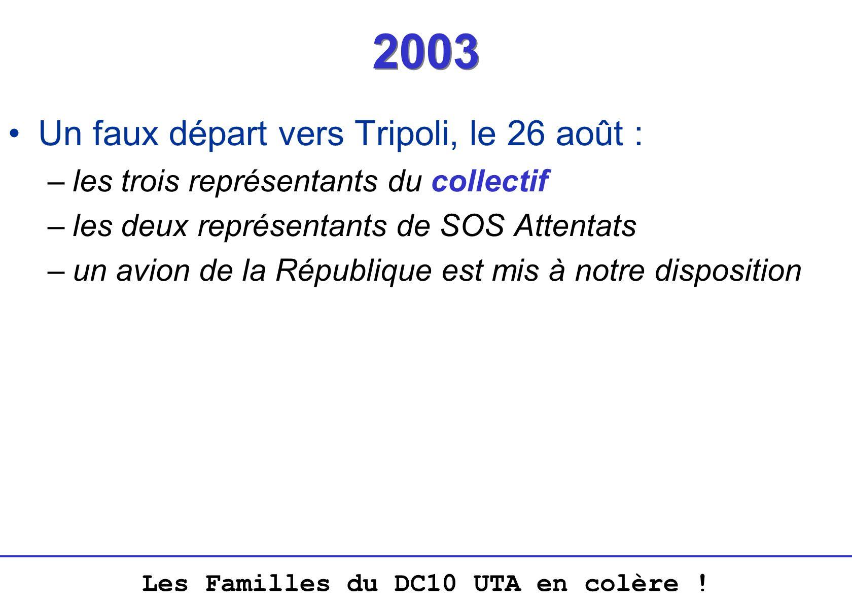 Les Familles du DC10 UTA en colère ! 2003 Un faux départ vers Tripoli, le 26 août : –les trois représentants du collectif –les deux représentants de S