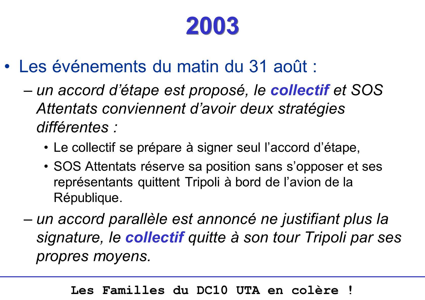 Les Familles du DC10 UTA en colère ! 2003 Les événements du matin du 31 août : –un accord détape est proposé, le collectif et SOS Attentats conviennen