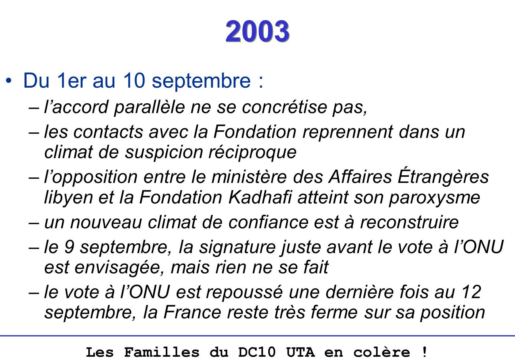 Les Familles du DC10 UTA en colère ! 2003 Du 1er au 10 septembre : –laccord parallèle ne se concrétise pas, –les contacts avec la Fondation reprennent
