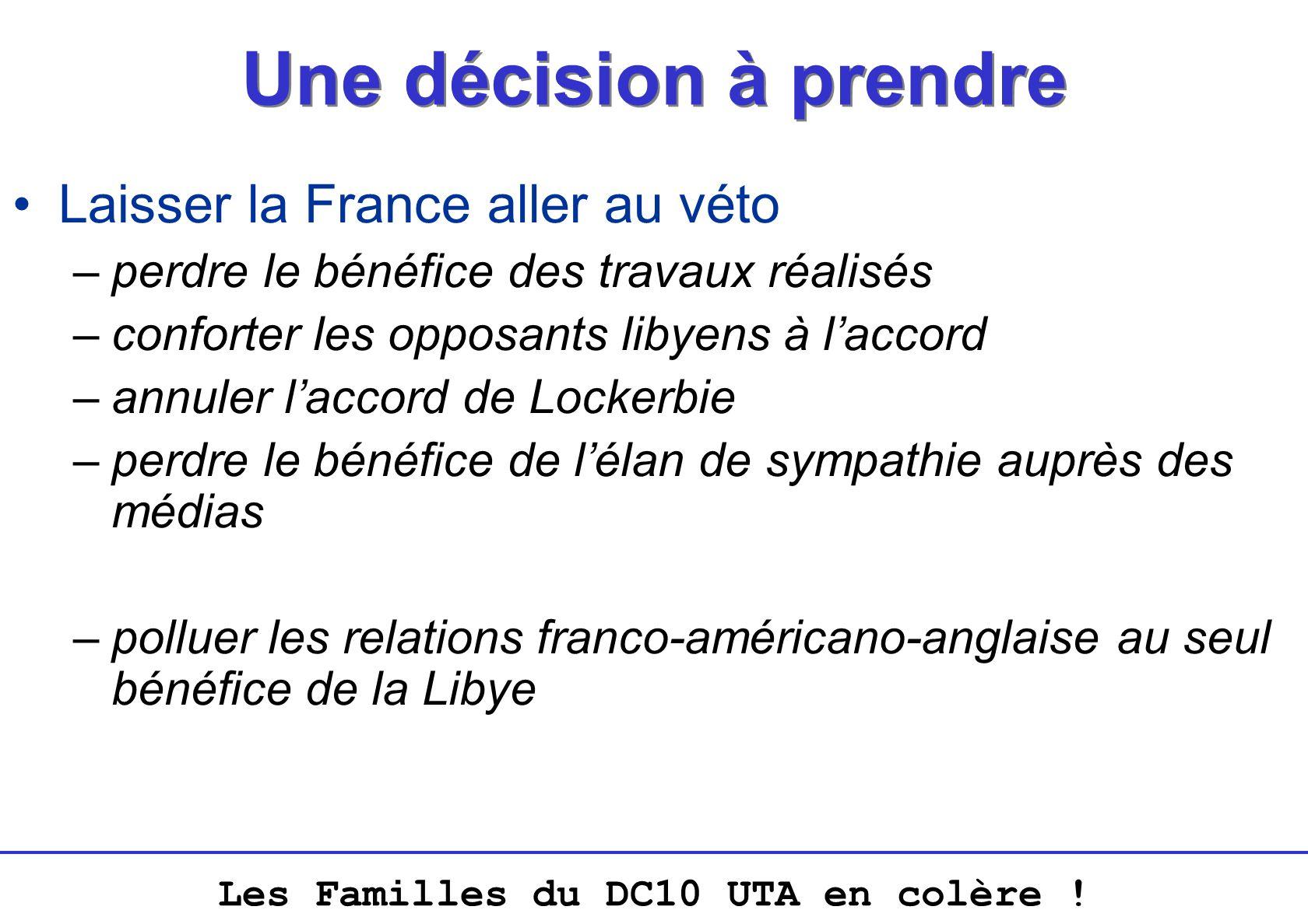 Les Familles du DC10 UTA en colère ! Une décision à prendre Laisser la France aller au véto –perdre le bénéfice des travaux réalisés –conforter les op
