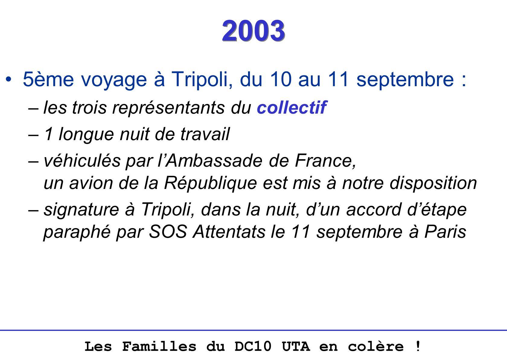 Les Familles du DC10 UTA en colère ! 2003 5ème voyage à Tripoli, du 10 au 11 septembre : –les trois représentants du collectif –1 longue nuit de trava