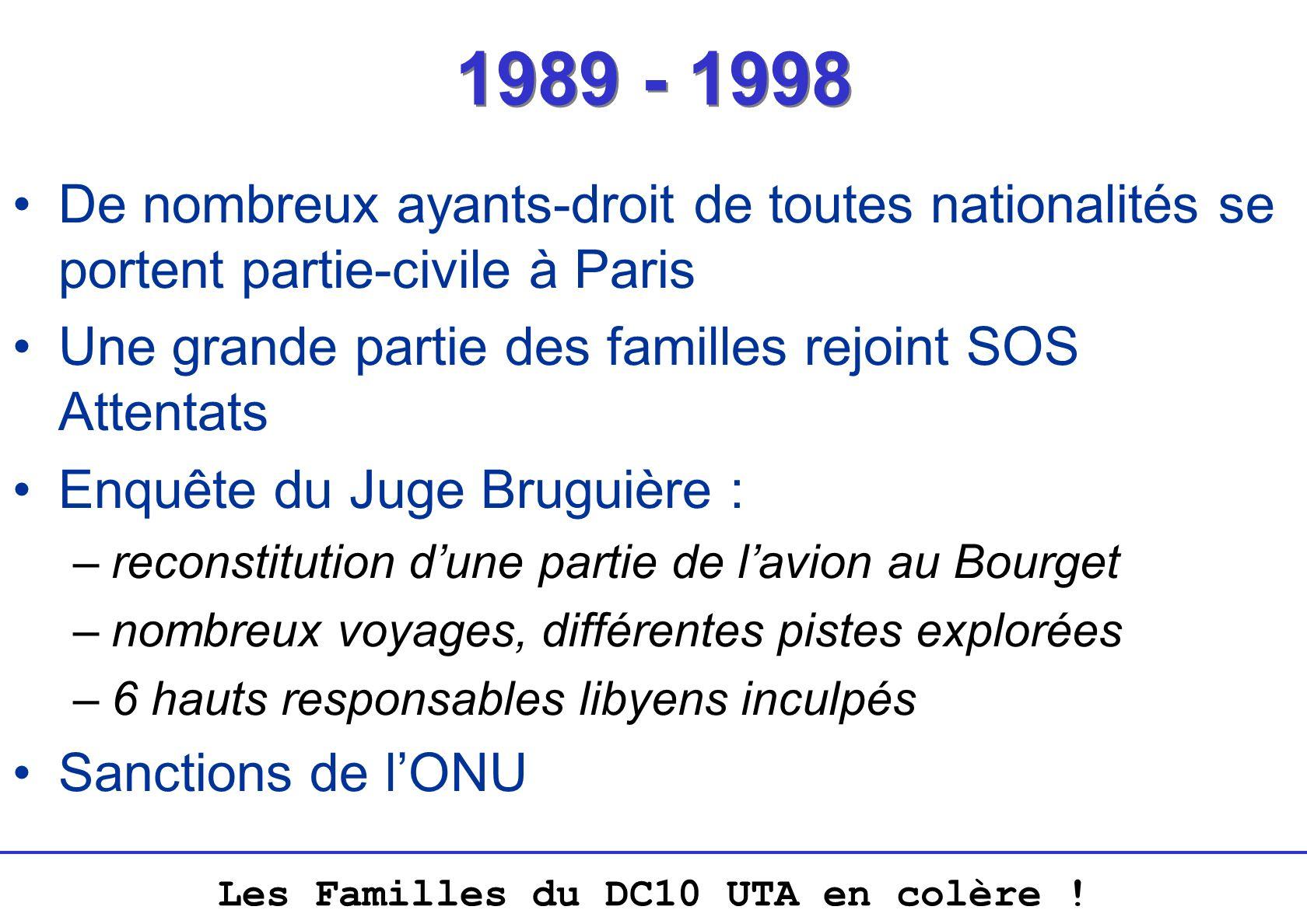 Les Familles du DC10 UTA en colère ! 1989 - 1998 De nombreux ayants-droit de toutes nationalités se portent partie-civile à Paris Une grande partie de