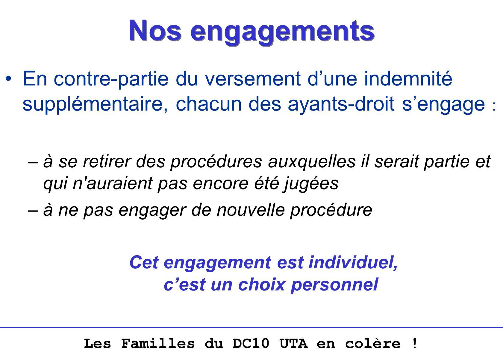 Les Familles du DC10 UTA en colère ! Nos engagements En contre-partie du versement dune indemnité supplémentaire, chacun des ayants-droit sengage : –à
