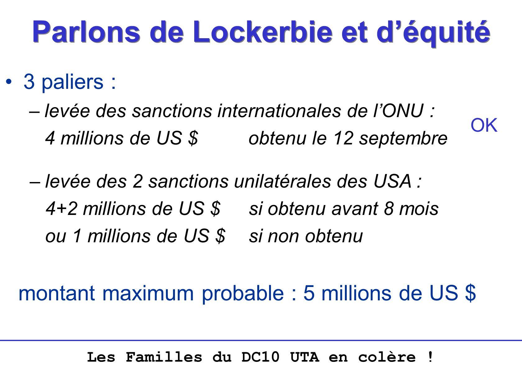 Les Familles du DC10 UTA en colère ! Parlons de Lockerbie et déquité 3 paliers : –levée des sanctions internationales de lONU : 4 millions de US $obte
