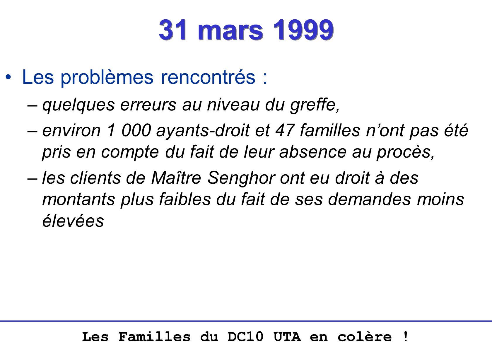 Les Familles du DC10 UTA en colère ! 31 mars 1999 Les problèmes rencontrés : –quelques erreurs au niveau du greffe, –environ 1 000 ayants-droit et 47