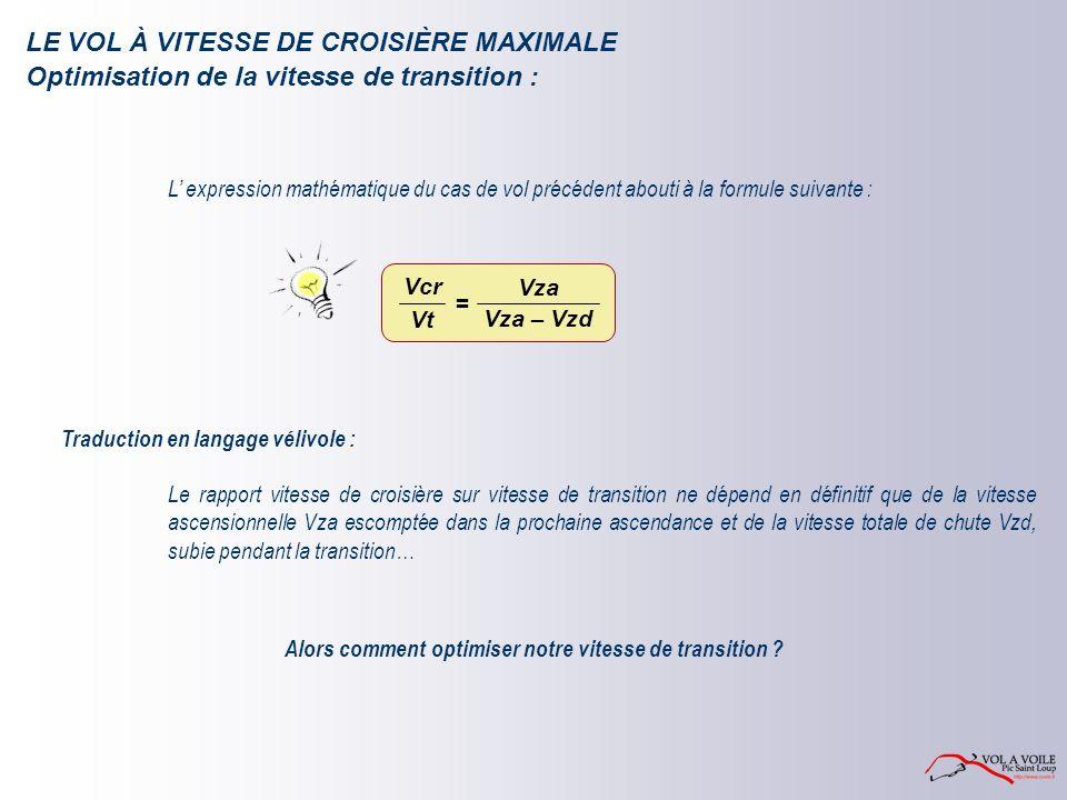 LE VOL À VITESSE DE CROISIÈRE MAXIMALE L expression mathématique du cas de vol précédent abouti à la formule suivante : Traduction en langage vélivole : Alors comment optimiser notre vitesse de transition .