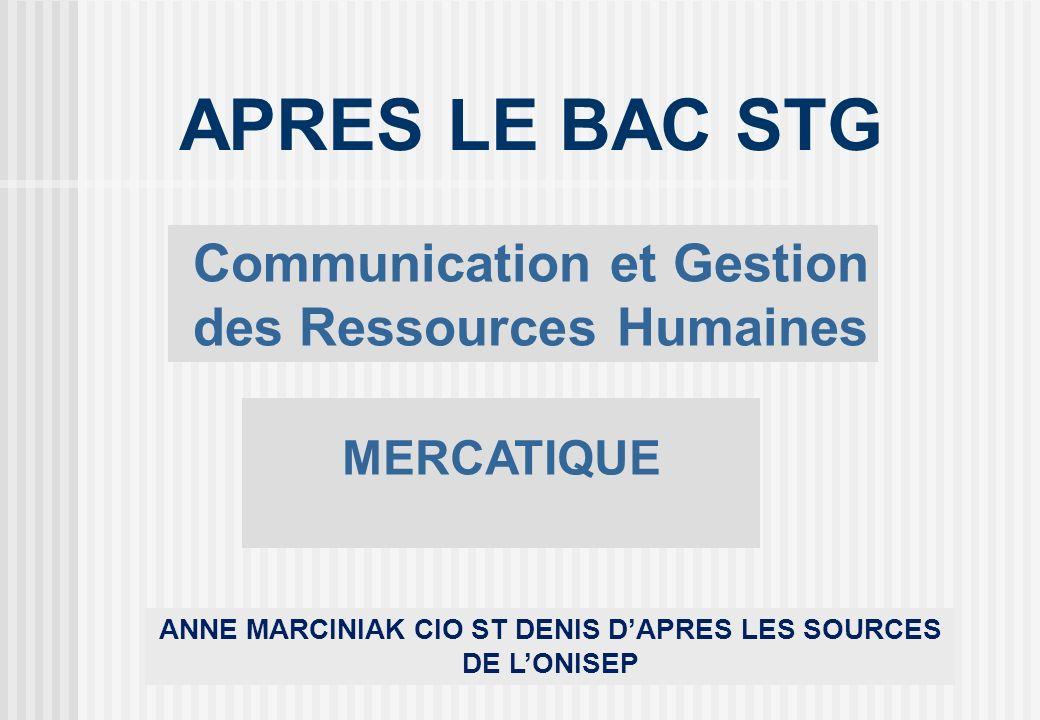 ANNE MARCINIAK CIO ST DENIS DAPRES LES SOURCES DE LONISEP APRES LE BAC STG Communication et Gestion des Ressources Humaines MERCATIQUE