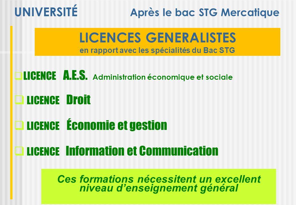 UNIVERSITÉ LICENCES GENERALISTES en rapport avec les spécialités du Bac STG LICENCE A.E.S. Administration économique et sociale LICENCE Droit LICENCE