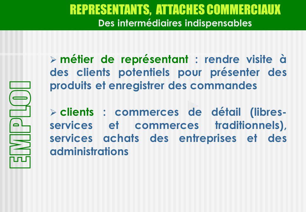 REPRESENTANTS, ATTACHES COMMERCIAUX Des intermédiaires indispensables métier de représentant : rendre visite à des clients potentiels pour présenter d