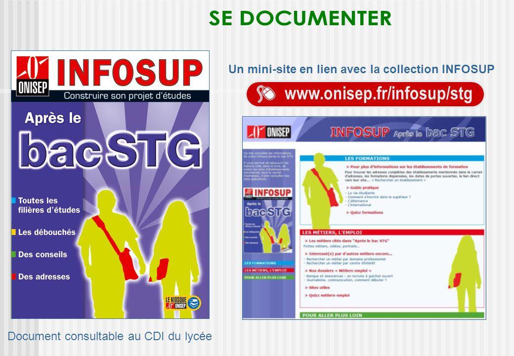 Un mini-site en lien avec la collection INFOSUP www.onisep.fr/infosup/stg Document consultable au CDI du lycée