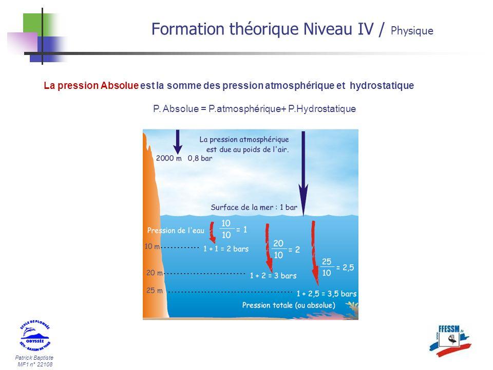 Patrick Baptiste MF1 n° 22108 La pression Absolue est la somme des pression atmosphérique et hydrostatique P. Absolue = P.atmosphérique+ P.Hydrostatiq