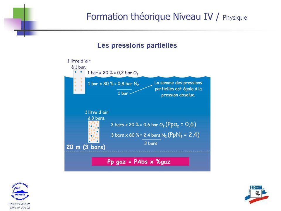 Patrick Baptiste MF1 n° 22108 Formation théorique Niveau IV / Physique Les pressions partielles