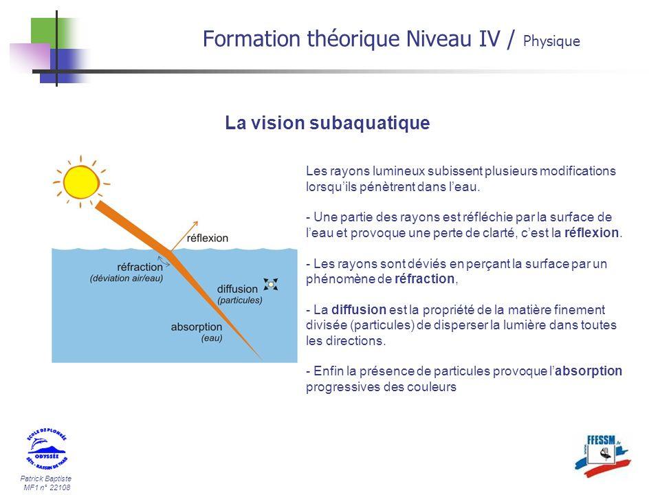 Patrick Baptiste MF1 n° 22108 La vision subaquatique Les rayons lumineux subissent plusieurs modifications lorsquils pénètrent dans leau. - Une partie