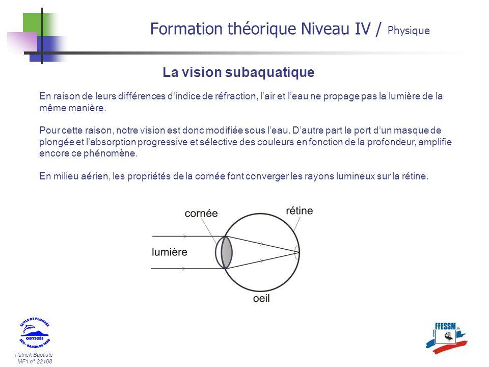 Patrick Baptiste MF1 n° 22108 La vision subaquatique En raison de leurs différences dindice de réfraction, lair et leau ne propage pas la lumière de l