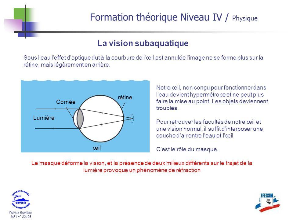 Patrick Baptiste MF1 n° 22108 La vision subaquatique Sous leau leffet doptique dut à la courbure de lœil est annulée limage ne se forme plus sur la ré
