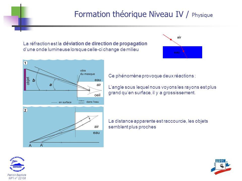 Patrick Baptiste MF1 n° 22108 La réfraction est la déviation de direction de propagation dune onde lumineuse lorsque celle-ci change de milieu air eau