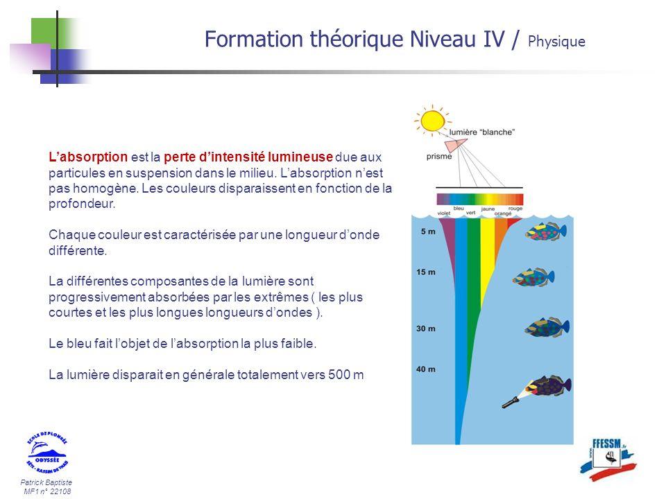 Patrick Baptiste MF1 n° 22108 Labsorption est la perte dintensité lumineuse due aux particules en suspension dans le milieu. Labsorption nest pas homo
