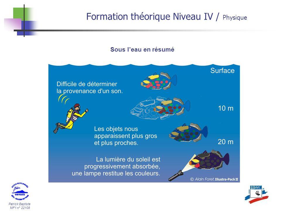 Patrick Baptiste MF1 n° 22108 Sous leau en résumé Formation théorique Niveau IV / Physique