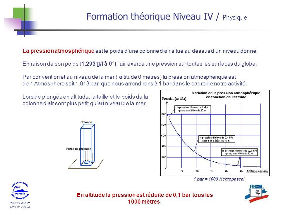 Patrick Baptiste MF1 n° 22108 La pression atmosphérique est le poids dune colonne dair situé au dessus dun niveau donné. En raison de son poids (1,293