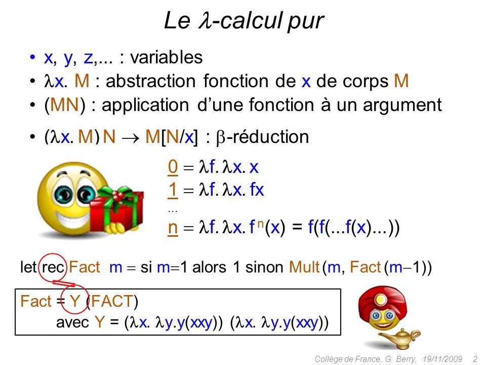 1.Cohérence et confluence 2.Causalité 3.Normalisation relative 4.Approximations, stabilité, séquentialité 5.Le -calcul simplement typé 6.Les types dordre supérieur 02/12/2009 33G.