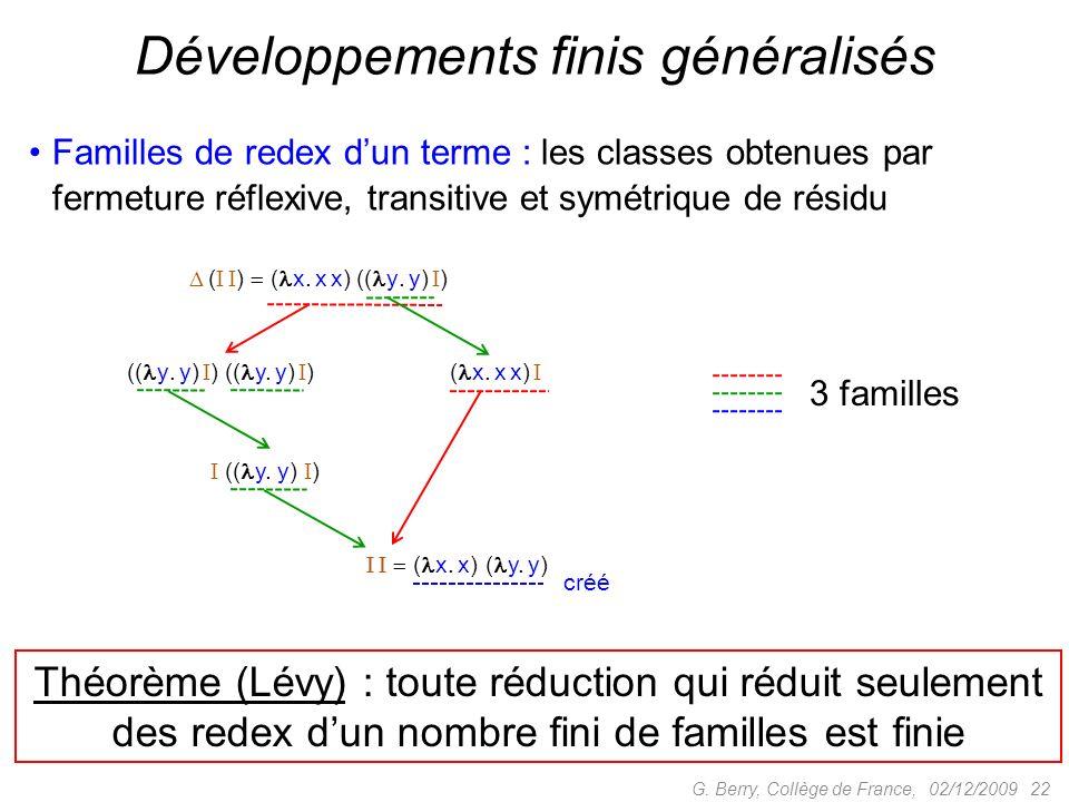 Familles de redex dun terme : les classes obtenues par fermeture réflexive, transitive et symétrique de résidu 02/12/2009 22G.