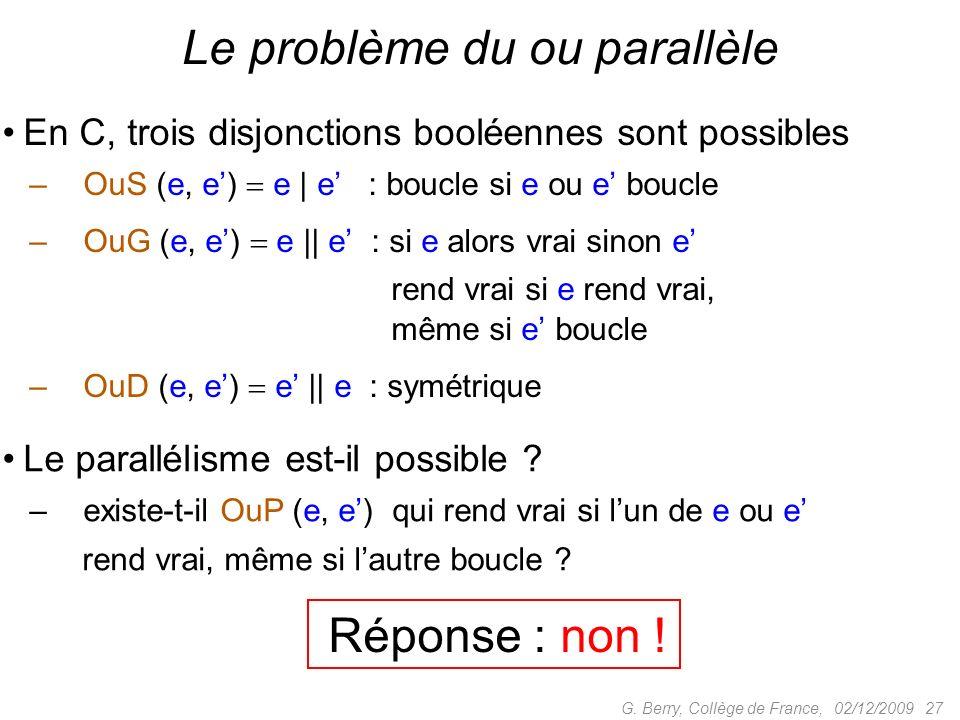 En C, trois disjonctions booléennes sont possibles –OuS (e, e) e | e : boucle si e ou e boucle –OuG (e, e) e || e : si e alors vrai sinon e rend vrai si e rend vrai, même si e boucle –OuD (e, e) e || e : symétrique 02/12/2009 27G.