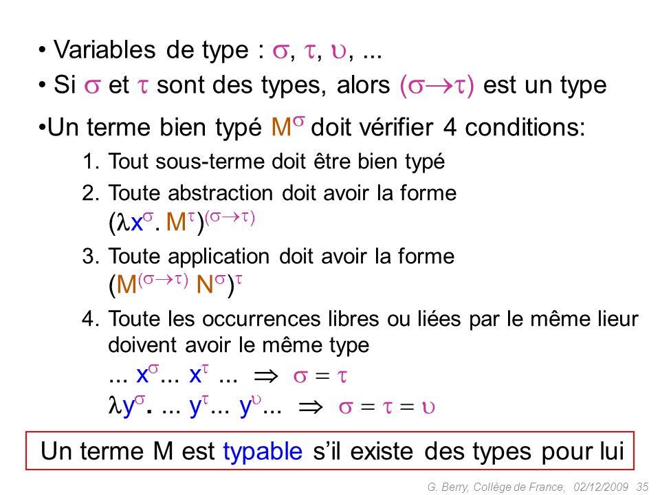02/12/2009 35G.Berry, Collège de France, Variables de type :,,,...