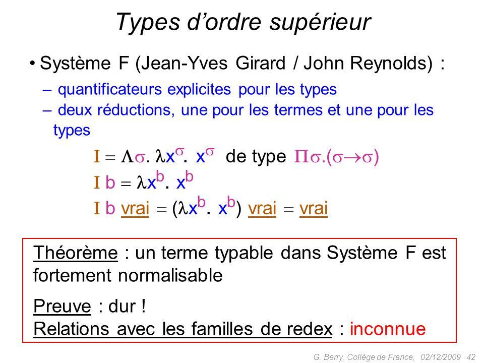 Système F (Jean-Yves Girard / John Reynolds) : – quantificateurs explicites pour les types – deux réductions, une pour les termes et une pour les types 02/12/2009 42G.