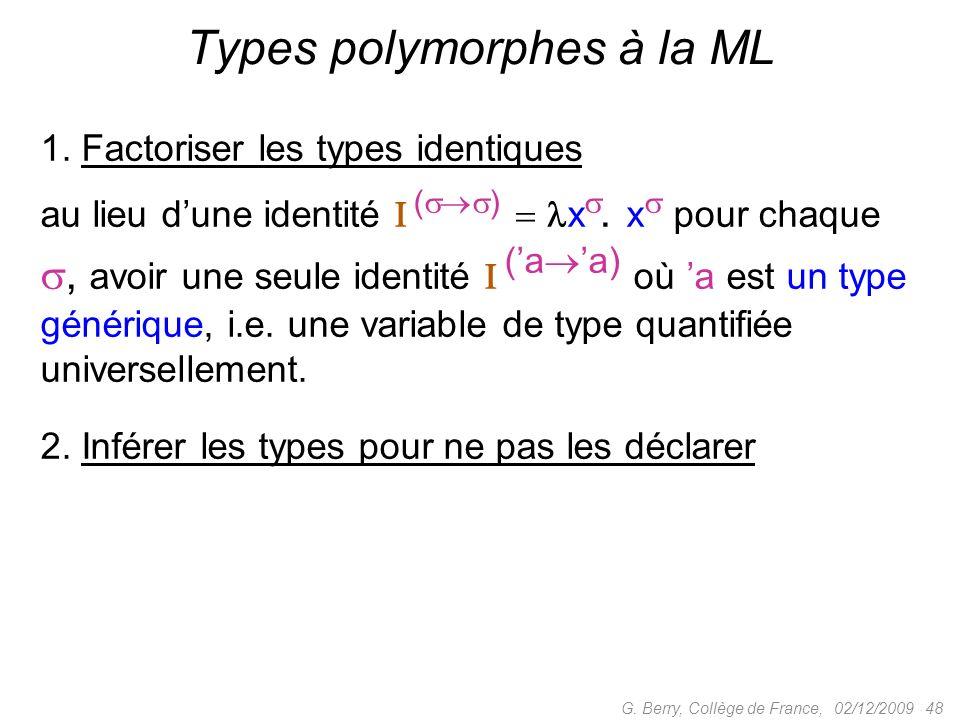 02/12/2009 48G.Berry, Collège de France, Types polymorphes à la ML 1.