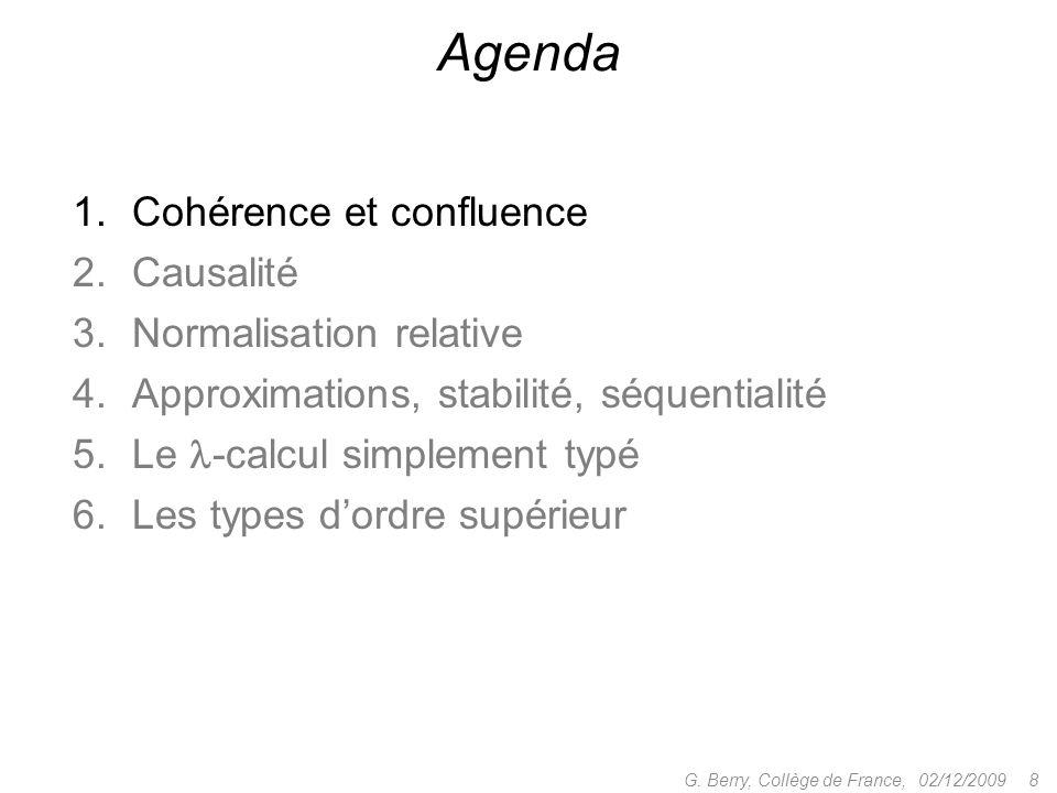 1.Cohérence et confluence 2.Causalité 3.Normalisation relative 4.Approximations, stabilité, séquentialité 5.Le -calcul simplement typé 6.Les types dordre supérieur 02/12/2009 8G.