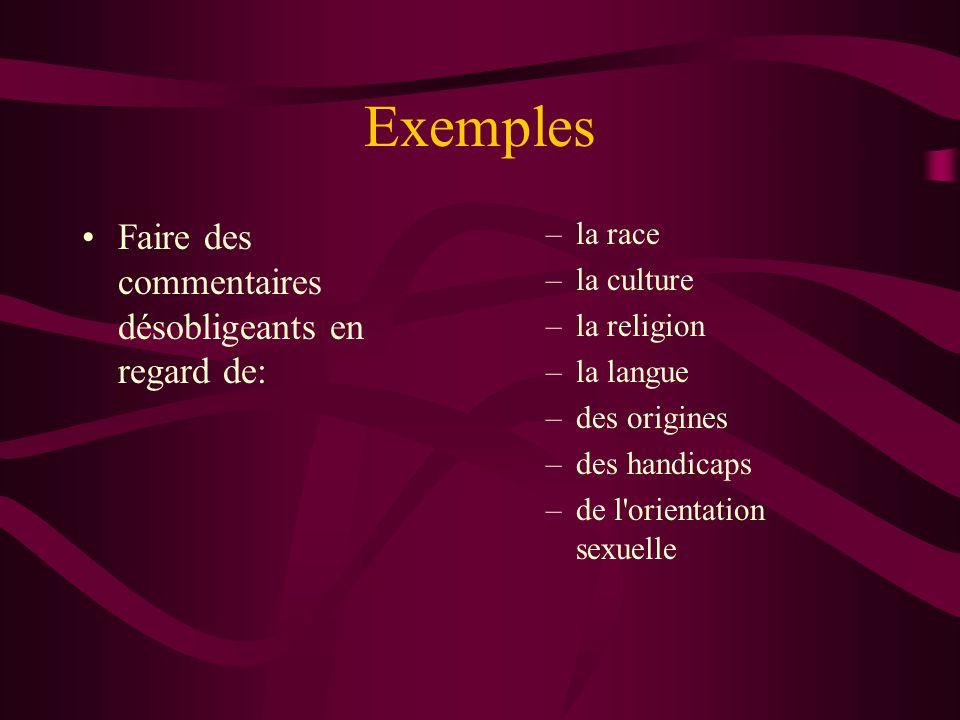 Exemples Faire des commentaires désobligeants en regard de: –la race –la culture –la religion –la langue –des origines –des handicaps –de l'orientatio