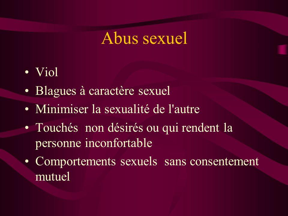 Abus sexuel Viol Blagues à caractère sexuel Minimiser la sexualité de l'autre Touchés non désirés ou qui rendent la personne inconfortable Comportemen