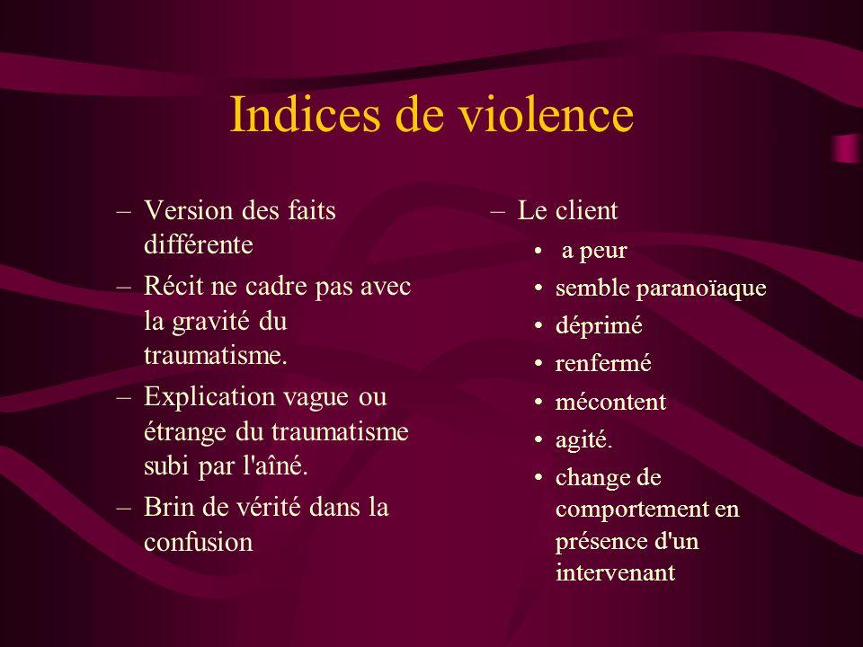 Indices de violence –Version des faits différente –Récit ne cadre pas avec la gravité du traumatisme. –Explication vague ou étrange du traumatisme sub