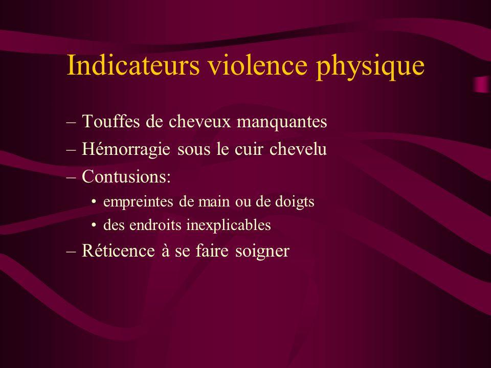 Indicateurs violence physique –Touffes de cheveux manquantes –Hémorragie sous le cuir chevelu –Contusions: empreintes de main ou de doigts des endroit